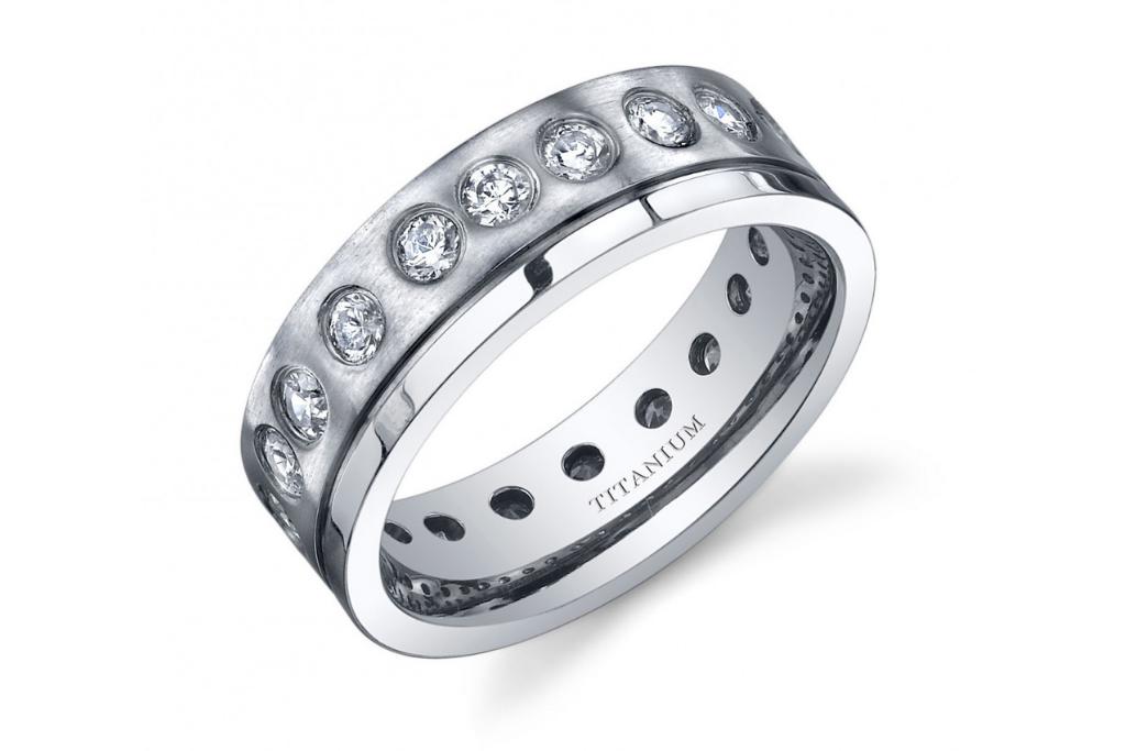 Men's Gemstone Rings - CZ Wedding Band