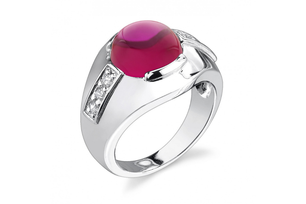 Men's Ruby Gemstone Ring in Sterling Silver