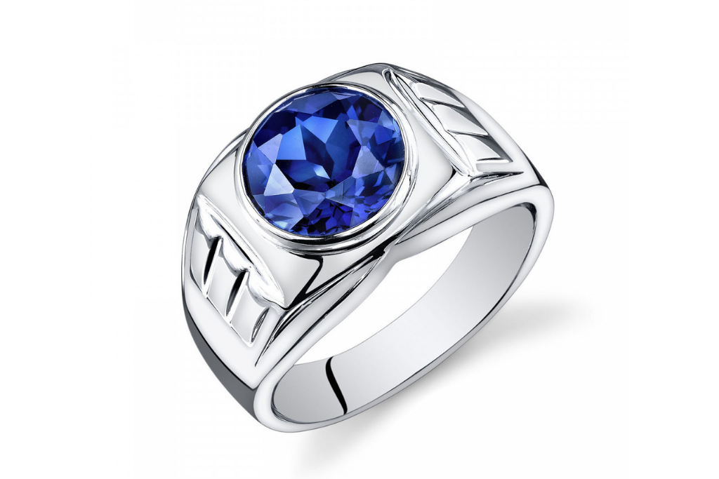 Men's Sapphire Signet Ring in Sterling Silver
