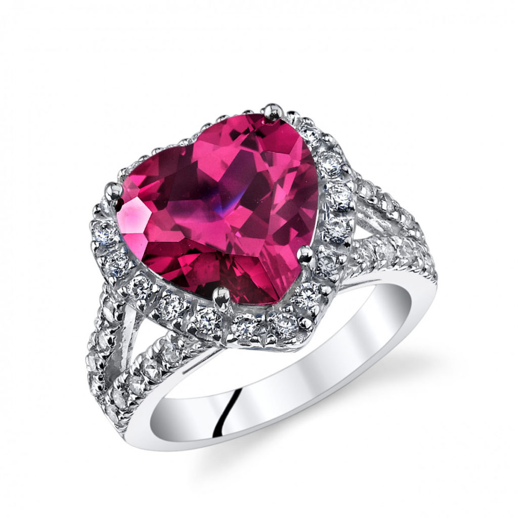 Heart Shaped Ruby & CZ Ring in Sterling Silver