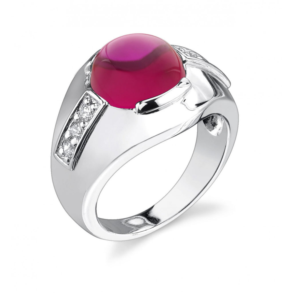 Men's Ruby & CZ Cabochon Ring in Sterling Silver