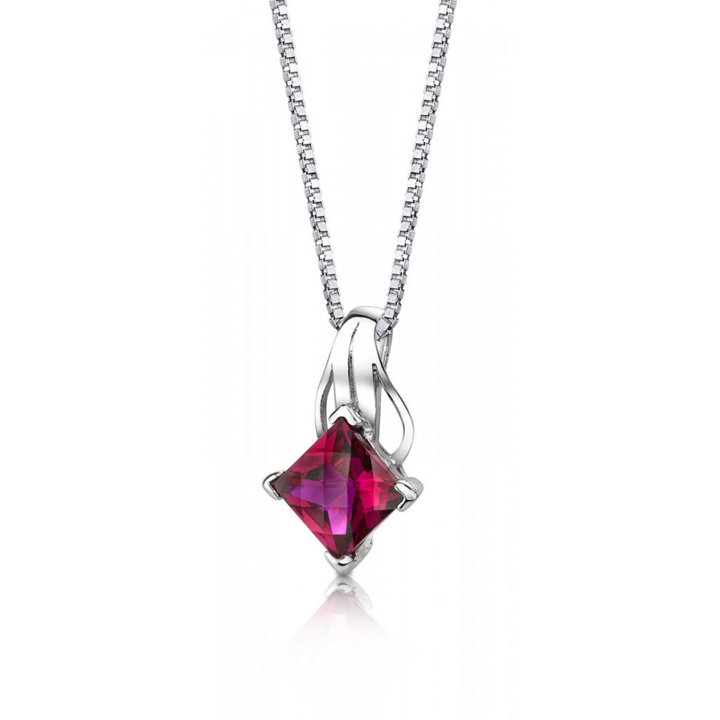 Princess Cut Ruby Pendant Necklace in Sterling Silver