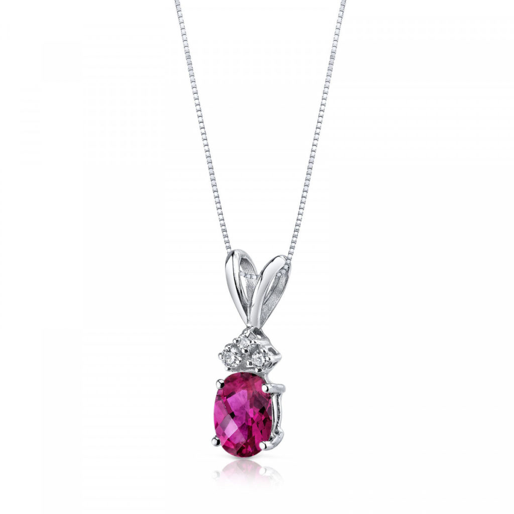 Ruby & Diamond 9ct White Gold Pendant Necklace with Silver Chain