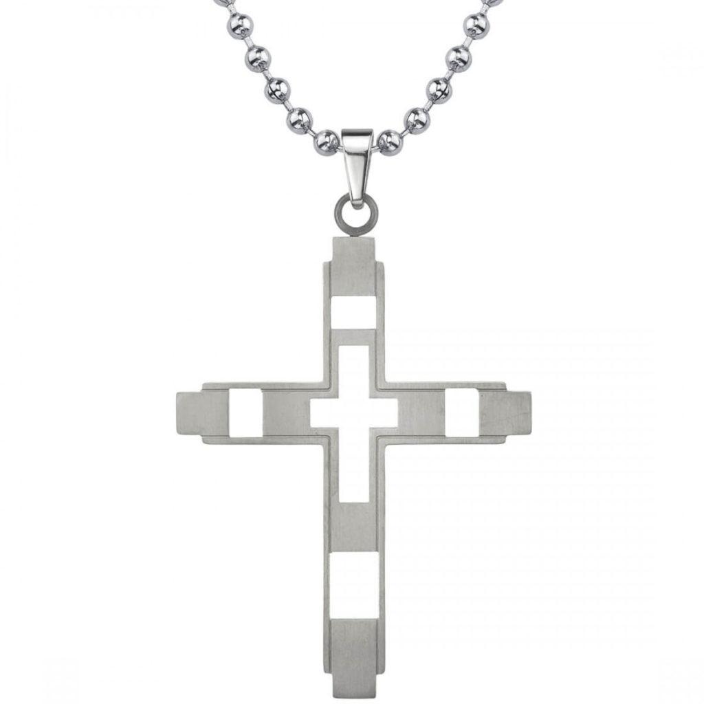 Men's Brushed Finish Cross Pendant Necklace in Titanium