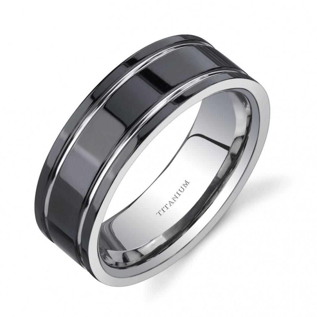 Men's Comfort Fit 8mm Engagement Ring in Titanium