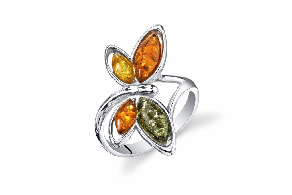 Baltic Amber Butterfly Pendant Necklace in Sterling Silver