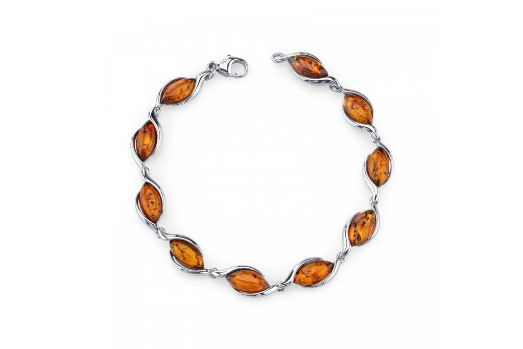 Baltic Amber Cognac Colour Bracelet in Sterling Silver