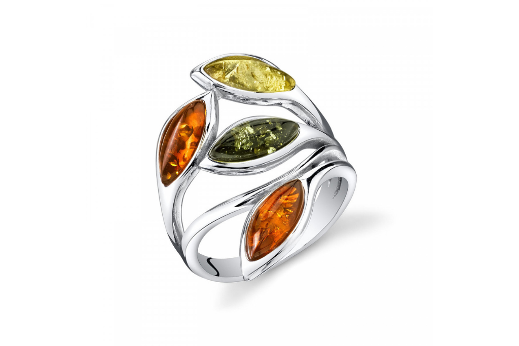 Baltic Amber Leaf Ring in Sterling Silver