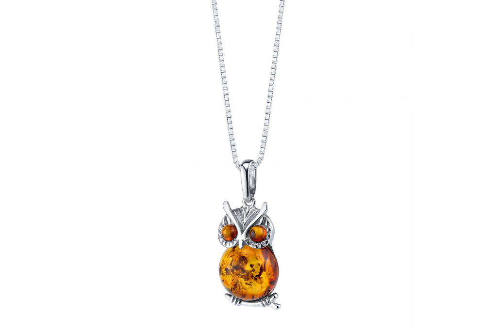 Amber Owl Necklace in Sterling Silver
