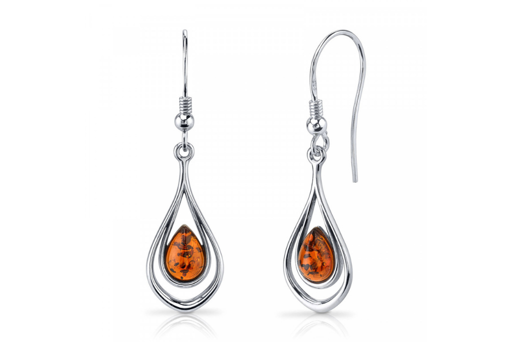 Amber Teardrop Drop Earrings in Sterling Silver