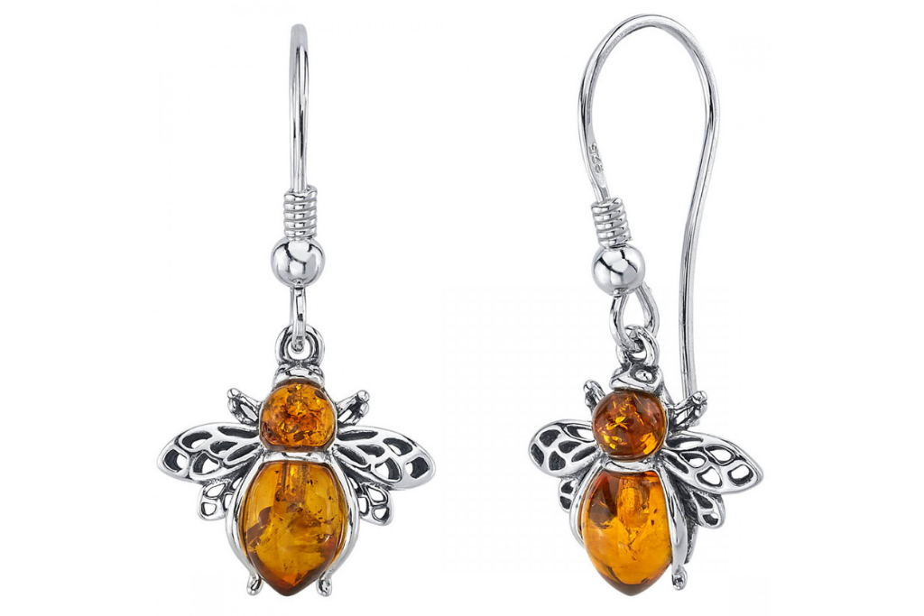 Baltic Amber Bee Drop Earrings in Sterling Silver