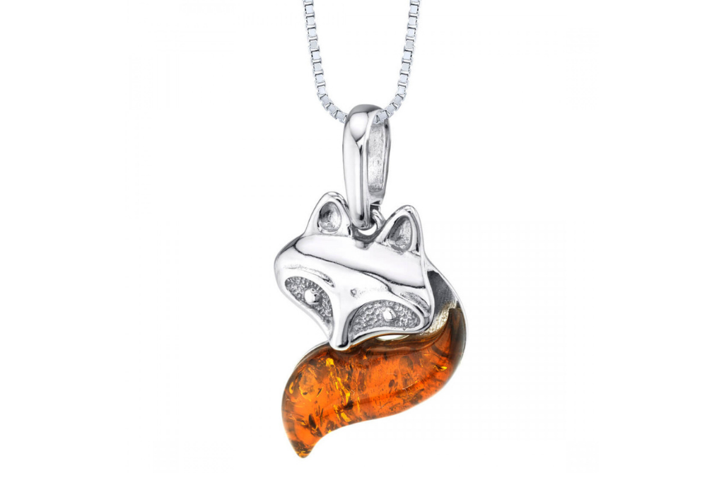 Baltic Amber Fox Pendant Necklace in Sterling Silver
