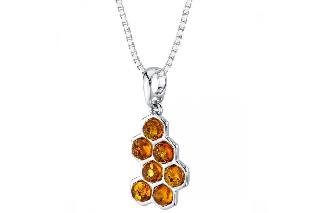 Baltic Amber Honeycomb Pendant Necklace
