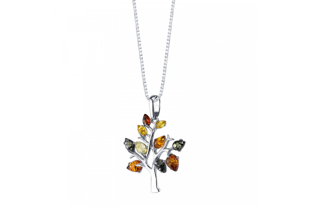 Baltic Amber Tree of Life Pendant Necklace in Sterling Silver